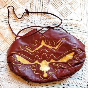 Vintage 80's Burgundy purse with gold desi…